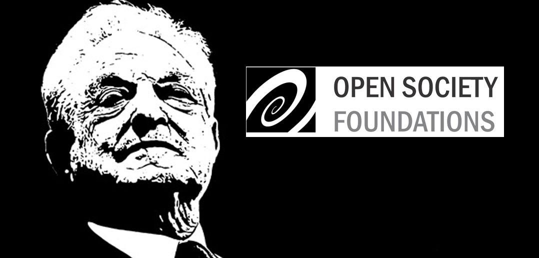 Джордж Сорос и логотип фонда «Открытое общество»